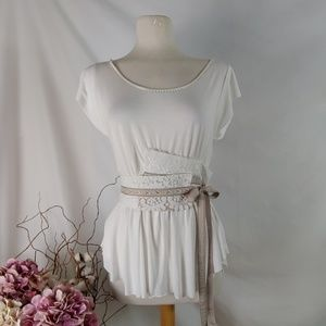 Anthropologie top with sash by a common thread